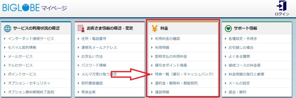 BIGLOBE マイページ画面