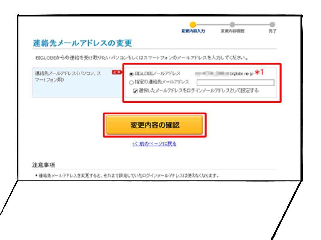 BIGLOBE 連絡先メールアドレス変更画面